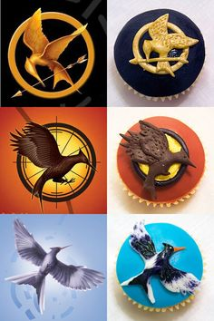Cupcakes inspired by The Hunger Games -@moxiethrift on etsy Martin are we talented enough to make these for the midnight premiere?