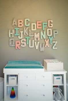 Love this alphabet wall in the nursery - created with coordinating scrapbook paper in the room's color scheme!