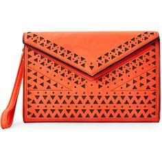 Melie Bianco Orange Quincy Cutwork Clutch ($25) ❤ liked on Polyvore featuring bags, handbags, clutches, orange, orange leather purse, wristlet clutches, red leather wristlet, leather purse and leather clutches