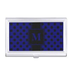 #monogrammed - #Monogram Black Polka Dot on Dark Navy Blue Business Card Case