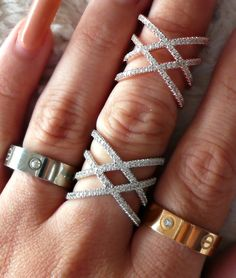 Pave CZ Double X Ring