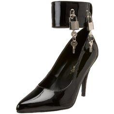"$50.20-$64.95 Pleaser Women's Vanity-434 Pump,Black Patent,15 M US - Brand: PLEASER; Style: VANITY-434; Size: 15; Color: Blk Pat; Material: Blk Pat; 4"" Pump W/ Locking Ankle Cuff & Padlocks http://www.amazon.com/dp/B000PGGSSW/?tag=icypnt-20"