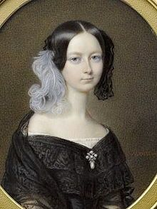 The Duchess Helene of Mecklenburg-Schwerin (1814-1858). She was the daughter of The Hereditary Grand Duke Friedrich Ludwig and his 2nd wife, Karoline of Saxe-Weimar-Eisenach. She was The Duchess of Orléans (1837-1842) as the wife of The Prince Ferdinand Philippe The 1st Duke of Orléans. Her children were the Princes Louis Philippe and Robert Philippe.