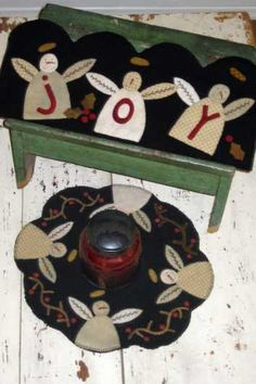 Snowmen Penny Rug and Candle Mat