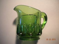 VINTAGE EAPG CONNEAUT LAKE PARK GREEN GLASS SOUVENIR CREAMER PITCHER