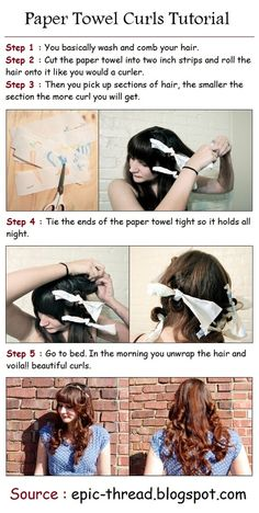 Paper Towel Curls Tutorial... sounds easier than the rollers I have and way less painful to sleep on...