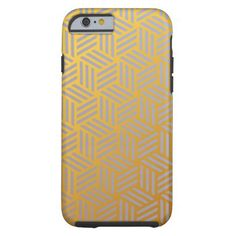 Shiny Gold and Silver Geometric Pattern HD Tough iPhone 6 Case