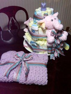 Baby Shower, Pastel de Pañales Niña, Diaper Cake,