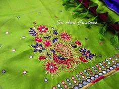"For orders Contact ""Sri Aari Creatives"" - 9842995293 Cutwork Blouse Designs, Best Blouse Designs, Simple Blouse Designs, Bridal Blouse Designs, Embroidery Works, Aari Embroidery, Embroidery Stitches, Peacock Embroidery Designs, Mirror Work Blouse Design"