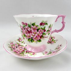 "Vintage Pink Royal Albert Tea Cup and Saucer, Blossom Time Series ""Apple Blossom"", Bone China, Gainsborough Shape"