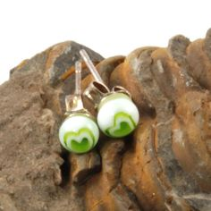 green love heart fused glass earrings by bluedaisyglass on Etsy, £8.00