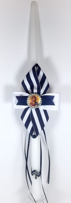 Navy Stripe - Greek Easter Candle (Lambatha) by EllinikiStoli on Etsy https://www.etsy.com/listing/222171183/navy-stripe-greek-easter-candle-lambatha