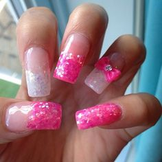 Pink sparkle nails #glitter #cute #fake nails