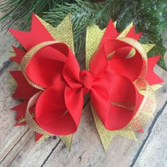 Christmas Collection - Christmas Hair bow - red and gold bow - Christmas Hair Clip - sparkle bows - Holiday Accessory - by BBgiftsandmore on Etsy