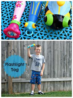 """FLASHLIGHT TAG. To play Flashlight Tag: The person chosen to be """"IT"""" will man the flashlight. Other players will run & hide. When the """"It"""" person is finished counting (we usually go to 20), he searches for the others with the flashlight. If he finds one, he must shine the light on their body (never in their eyes we tell them) and call out their name. That person becomes """"it"""" and the game continues!"""