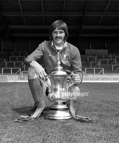 Sport Football England August 1974 Liverpool FC Photocall Liverpool FC's Steve Heighway is pictured with the FA Cup trophy that his side won against Newcastle United