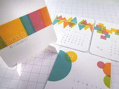 Be Colorful Modern Mini Calendar 2013 by Monkey Min Design contemporary desk accessories