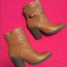 Tan Booties Worn a handful of times. Has a small scuff mark on the front as seen in picture 3. Other than that perfect condition. JustFab Shoes Ankle Boots & Booties