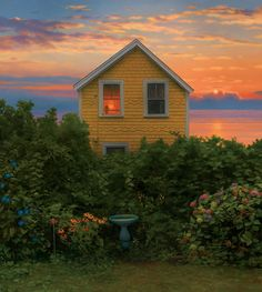 Beach House at Sunrise - by Scott Prior 2011 20 x 18 inches oil on panel Beach Cottage Style, Beach Cottages, Beach Houses, Mellow Yellow, Aesthetic Pictures, Architecture, Future House, Beautiful Places, Beautiful Pictures