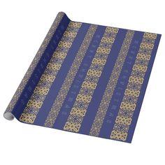 Seasonal Ornamentic Adjustable Greeting Blue Wrapping Paper