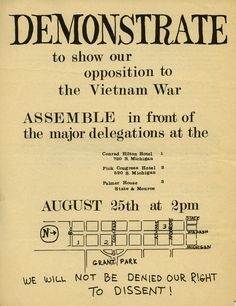 "This two-sided flyer is a concise and practical guide, encouraging individuals to show opposition to the Vietnam War outside the 1968 Democratic National Convention in Chicago.  It includes a map of the demonstration location, plus information about the convention schedule and alternative demonstration locations. National Mobilization [Committee to End the War in Vietnam], ""Demonstrate to show our opposition to the Vietnam War, 1968,"" in Special Collections & Archives, Item #55"