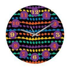 Colorful Abstract Dots Wall Clock> Colorful Abstract Dots Pattern> Holiday Hearts Trendy Home #cuteclocks #rainbowclocks #polkadots