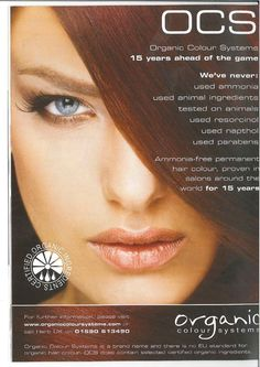 Organic Colour Systems, 18 years ahead of the game, and still offering the safest, most effective professional hair colour! www.organiccoloursystems.com.au