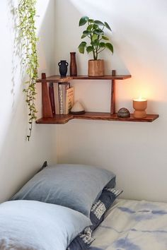 Dawson Drawer Wall Shelf | Urban Outfitters Bedroom Wall Decor Above Bed, Floating Shelves Bedroom, Bed Shelves, Corner Wall Shelves, Wood Wall Shelf, Bed Wall, Room Ideas Bedroom, Room Decor, Bedroom Wall Shelves