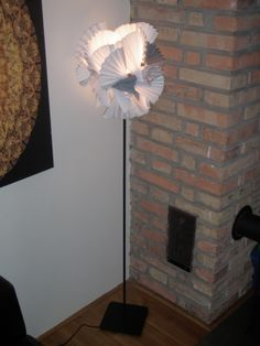 Paper and wooden lampshade. Info: http://handmade-decorating.wix.com/hand