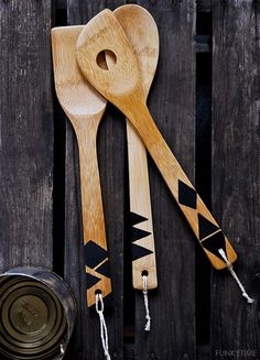 Geo Painted Wooden Spoons | Funkytime