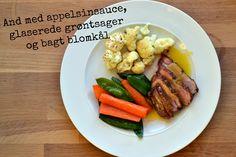 And med appelsinsauce, glaserede grøntsager og bagt blomkål + lidt om middagsfred.dk - Smag på maden