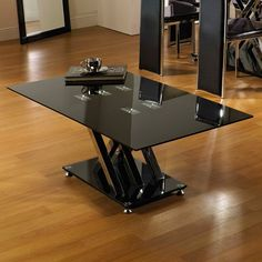 SALE!! Excelsior Black Glass Coffee Table