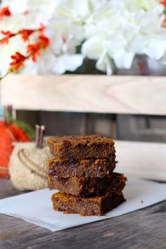Ooey Gooey Chocolate Chip Pumpkin Bars - I'd add less sugar next time, but super tasty! Made with homemade pumpkin puree.