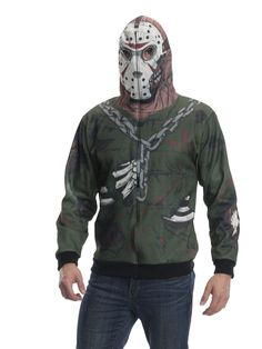 Glorious Adult Jason Hoodie Costume. Creative Collection of Friday The 13th Costumes for Halloween at PartyBell. Jason Friday, Friday The 13th, Jason Voorhees, Costume Collection, Cool Halloween Costumes, Spooky Halloween, Costume Shop, Iconic Characters, Outdoor Outfit