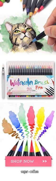 Diy art watercolor brushes 58 new ideas Art And Illustration, Illustrations, Watercolor Brush Pen, Watercolor Water, Art Techniques, Cat Art, Art Tutorials, Painting & Drawing, Brush Drawing