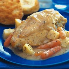 Creamy Country Chicken with Vegetables: This slow cooker recipe delivers maximum flavor with minimum effort. Serve with fresh baked biscuits.