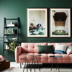 Oh that pink sofa! Need it for that other space where I said a pink sofa was needed. Retro Living Rooms, Living Room Green, Interior Design Living Room, Living Room Designs, Green Interior Design, Bedroom Green, Interior Styling, Dark Green Rooms, Pastel Living Room