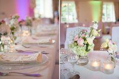 Saaldeko, Tischdekoration, Tischdeko, Hochzeitsdekoration, Hochzeitsdeko, Sommerhochzeit, Sommerblumen, Blumenvase