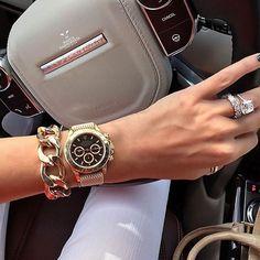 rocking that Beige Perlon strap to her Rolex Daytona in yellow gold! Thanks for sharing! by gentsmania Watch Tumblr, Luxury Watches, Rolex Watches, Gold Rolex, Diamond Girl, Ring Bracelet, Watch Sale, Watch Brands, Michael Kors Watch