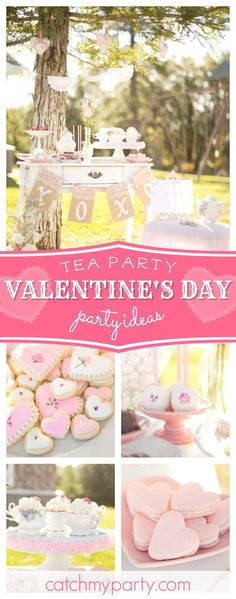Check out this delightful Valentine's Day Par-Tea!! The sugar coated heart cookies are adorable!! See more party ideas and share yours at CatchMyParty.com #valentinesday #love #teaparty