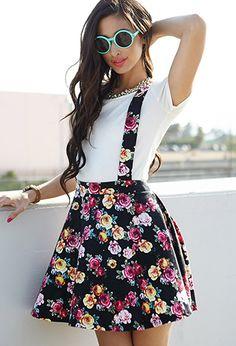 Floral Print Suspender Dress | FOREVER21 - 2002246008