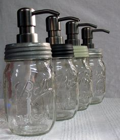 Ball Mason Jar Soap Dispenser 1 pint- your choice of lid color. Black, White Washed, Galvanized -- add a modern twist to farm house decor. $24.00, via Etsy.
