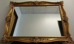 Vtg-Large-Ornate-Syroco-Style-Gold-Hollywood-Regency-Wall-Mirror-43-x-31