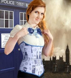 """Tardis Corset - Doctor Who inspired This doctor. - Tardis Corset - Doctor Who inspired """" This doctor who themed corset will be made custom to your measurements, out of a cotton tardis print fabric which has a light purpley blue background. Doctor Who Cosplay, Tardis Cosplay, Tardis Costume, Doctor Who Tardis, Tardis Dress, Doctor Who Wedding, Geek News, Female Doctor, Underbust Corset"""