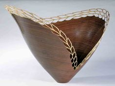 Leaves in a Golden Wind :: Malcolm Zander Tung Oil Finish, Wood Lathe, Source Of Inspiration, Pottery Vase, Wood Sculpture, Home Decor Furniture, Walnut Wood, Wood Turning, Wood Art
