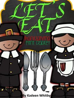 """FREEBIE """"Let's Eat""""Thanksgiving Literacy and Math- includes time, skip counting, verbs and adjectives, writing sentences, unscrambling sight words, identifying questions vs. statement sentences, odd vs even numbers"""