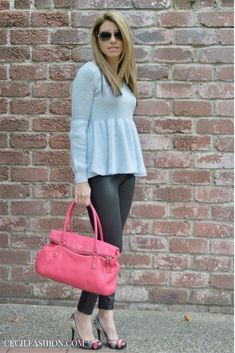 Peplum sweater and leather leggings outfit | Click through for details