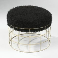 VERNER PANTON    wire stool    Denmark  coated steel, wool  21.5 dia x 16 h inches