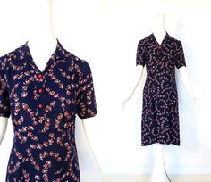 1930s Day Dress / Vintage 30s Dress / Winter by SmallEarthVintage, $72.00