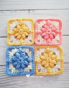 Crochet Bobble Drops Flower Granny Square Free Pattern - Crochet For You Crochet Bobble, Crochet Squares Afghan, Bag Crochet, Crochet Blocks, Granny Square Crochet Pattern, Crochet Granny, Crochet Motif, Crochet Flowers, Free Crochet